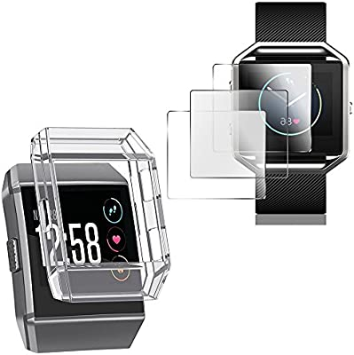 Estuche protector para Fitbit Ionic con protectores de pantalla, cubierta resistente a los golpes AFUNTA TPU y 3 piezas de películas protectoras ...