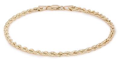 excepcional gama de estilos y colores alta calidad descuento de venta caliente 10 K oro amarillo hueco cuerda cadena pulsera y tobillera ...