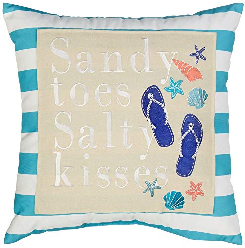 Arlee Sandy Toes Salty Kisses Decorative Pillow One Size Blue/White/Beige/Orange