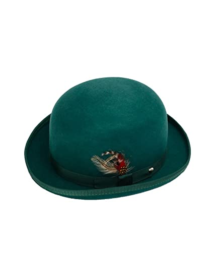 3e8bc2511 New Mens 100% Wool Dark Green (Hunter) Derby Bowler Hat