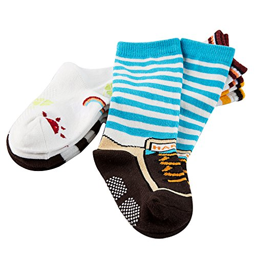 Lian LifeStyle Baby Boy's 3-Pairs-Pack Knee High Cotton Non-Skid Socks 6M-3Y One Size A from Lian LifeStyle