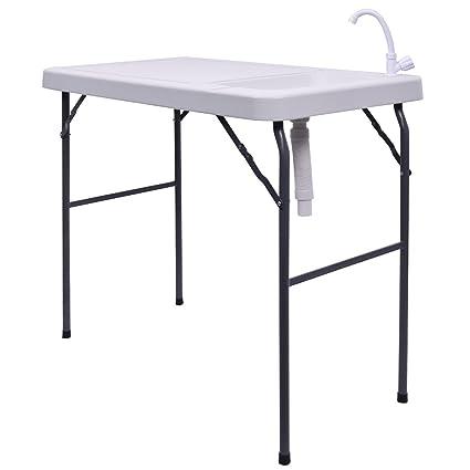 Goplus plegable portátil mesa de camping de corte de filete de pescado caza W/fregadero