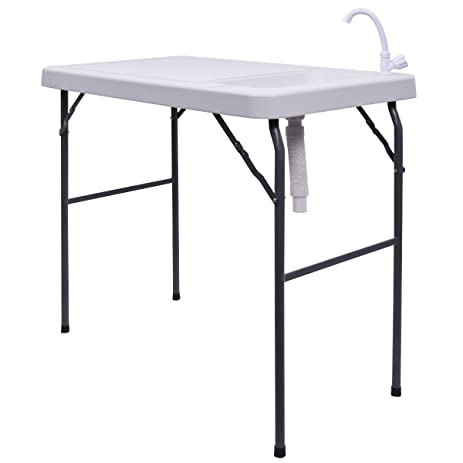 Goplus Folding Portable Fish Fillet Hunting Cutting Camping Table W Sink Faucet
