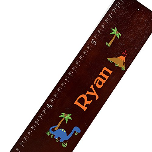Personalized Espresso Dinosaurs Childrens Wooden Growth Chart (Dinosaur Growth Chart Personalized)