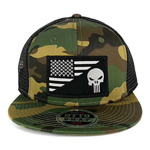Armycrew Punisher Black White American Flag Embroidered Patch Camo Flat Bill Snapback Mesh Cap - Black