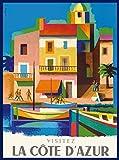 Visitez La Côte D'azur French Riviera Air France Vintage Travel Advertisement Poster. Poster measures 10 x 13.5 inches.