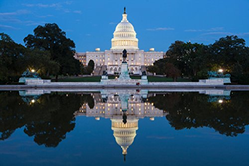 United States Capitol by Night Washington DC Photo Art Print Poster 18x12 (Washington State Pictures)