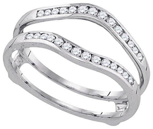 Cttw Bridal Enhancer - 14k White Gold Womens Natural Round Diamond Wedding Bridal Enhancer Band Wrap 1.00 Cttw