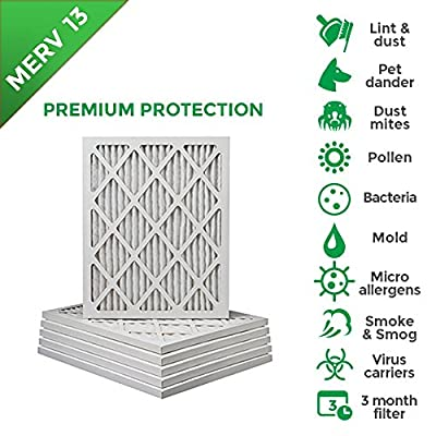 18x20x1 MERV 13 (MPR 2200) Pleated AC Furnace Air Filters. Box of 6