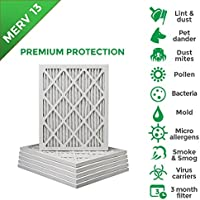 10x20x1 MERV 13 (MPR 2200) Pleated AC Furnace Air Filters. Box of 6