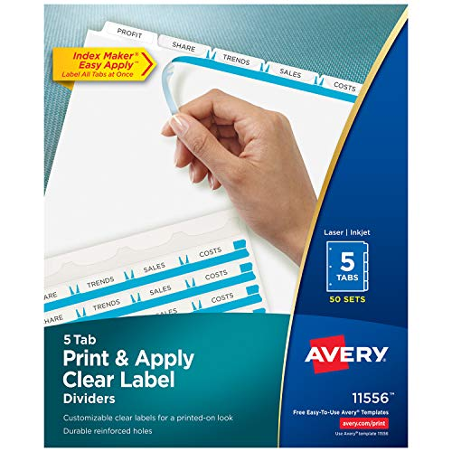 Avery 5-Tab Binder Dividers, Easy Print & Apply Clear Label Strip, Index Maker, White Tabs, 50 Sets (11556) Avery Index Maker White Dividers