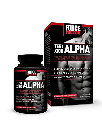Test X180 Alpha Free Testosterone Booster to Increase Libido, Build Lean Muscle, Boost Stamina, & Improve Sexual Performance, Force Factor, 120 Count