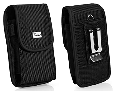 Heavy Duty Vertical Rugged Case For lg Lucid 2 VS870 Optimus F3Q D520 OPTIMUS G2X 4G enV Touch VX11000 Nylon Cell Phone Case / Pouch / Holster with Belt Loop, Metal Belt Clip, & Velcro (Phone Case For Lg Optimus F3q)