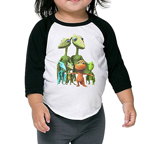 Kid's Dinosaur Train Toddler Boys Girls 3/4 Sleeve Raglan Tshirt 100% Cotton 2 Toddler