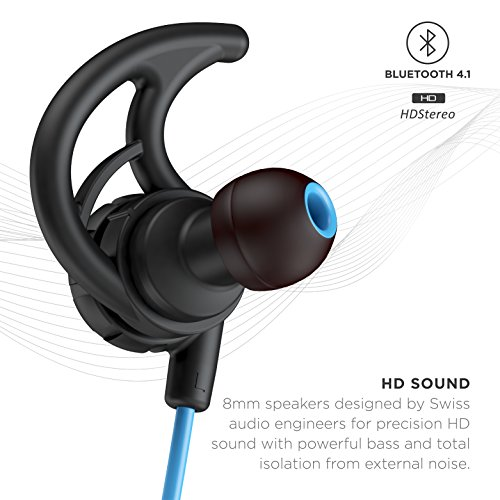 Phaiser BHS-750 Bluetooth Headphones Runner Headset Sport Earphones with Mic and Lifetime Sweatproof Guarantee - Wireless Earbuds for Running, Oceanblue
