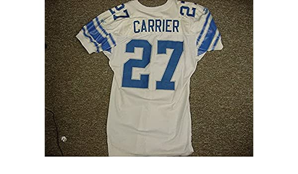 774166587d4 Mark Carrier Detroit Lions White Puma Game Worn Jersey at Amazon's Sports  Collectibles Store