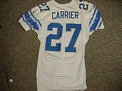 33ed18acc79 Mark Carrier Detroit Lions White Puma Game Worn Jersey at Amazon's ...
