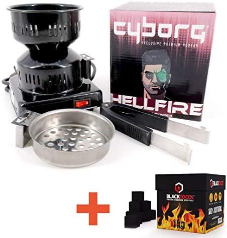 Cyborg Hookah Elektrischer Kohleanzünder für Shishas + 1Kg Blackcoco´s - geeignet für Naturkohle - abnehmbaren Griff, der auch als Kohlezange benutzt Werden kann - Höhe ca 16,5cm - 450W