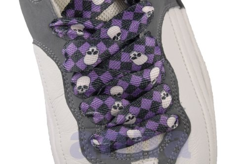 Mazenta Skull Checker Fashion Flat Shoelaces for 6 Pairs Eyelets (Skull Shoelaces)