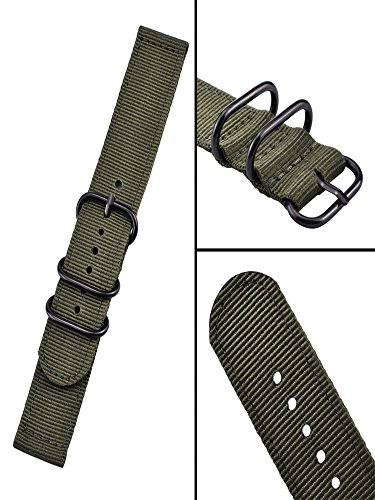 Mudder 2 Pieces Replacement Nylon Watchbands Watch Straps, Army Green and Black