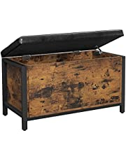 VASAGLE Storage Bench, Flip Top Storage Ottoman Padded Seat, Bed End Stool, Support 198 lb, ULSC80BX