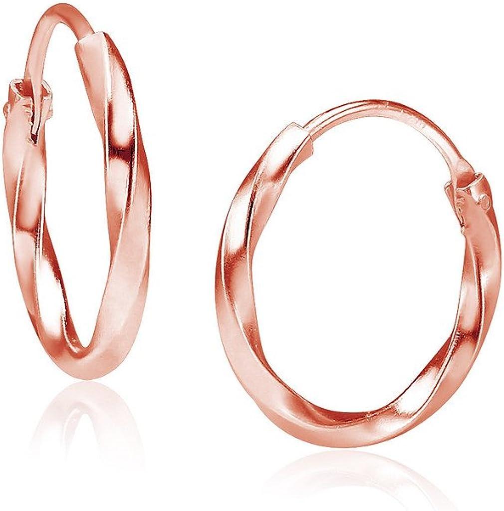 Rose Gold GF Black Onyx Gemstone Huggie Hoop 12mm Sleeper Earrings