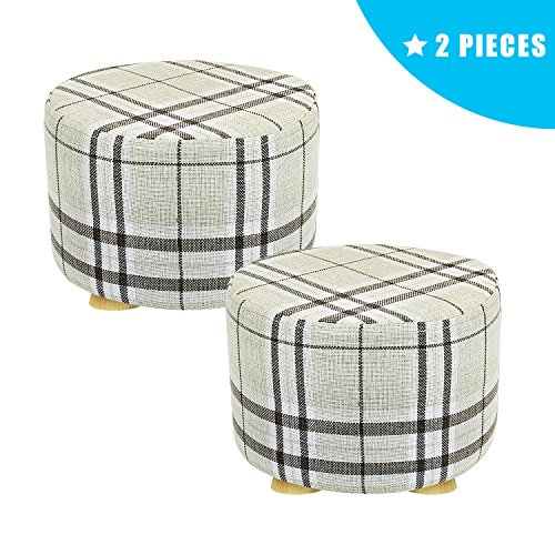 Jerry & Maggie - 2 Pieces Footstool Fabric Ottomans Bench Seat Foot Rest Step Stool with Feet Protection Design | Round - Short 4 Legs - Striped Cover (Fabric Footstool Ottoman)