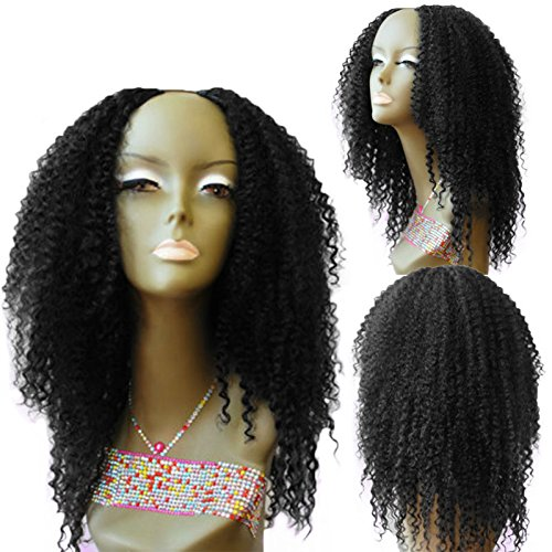 U Part Wigs for Black Women Brazilian Kinky Curly Upart Wigs Natural Color 16 Inch 180 Density