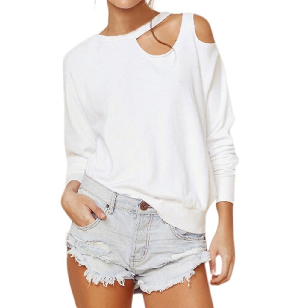 Ecurson Women Off Shoulder O-Neck Long Sleeve Loose Tops Blouse (XL)