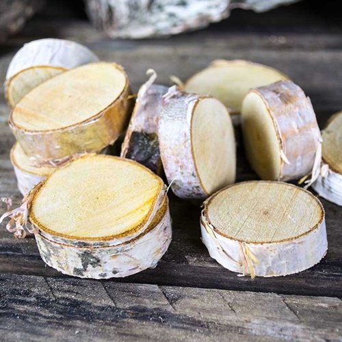Natural Mini Wood Slices, Round Birch Slabs, 1.5 to 2.5 inches, Rustic Tree Bark Slice, Weathered Branch Disc, Outdoor Country Barn Wedding Table Centerpiece, (100 (Wood Slabs For Wedding)