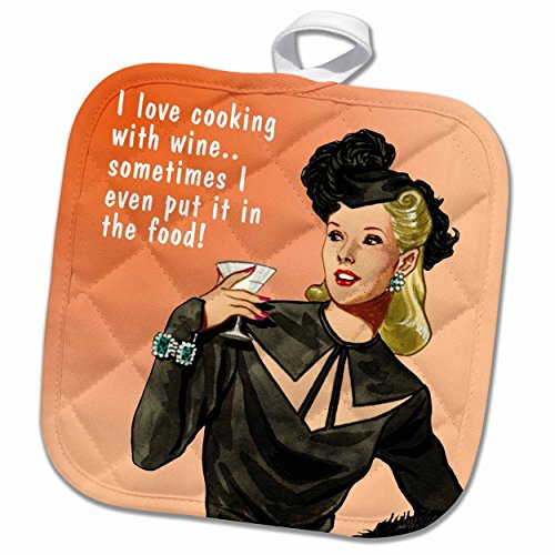 (3dRose Funny Retro Girl-Cooking with Wine Potholder, 8 x 8)