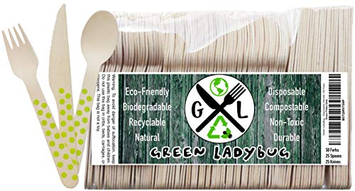 Disposable Wooden Cutlery Set. Colorful, Fun and Eco-Friendly. 100% Natural, Biodegradable and Compostable. Better for the Planet than Plastic Silverware. Go Green Pack of 100 Green Polka Dot Utensils