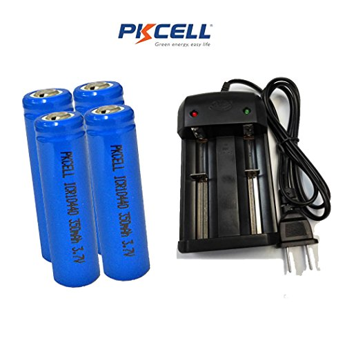 AAA Size 3.7V 350MAH ICR10440 Lithium Ion Rechargeable Battery (4pc button top +charger)