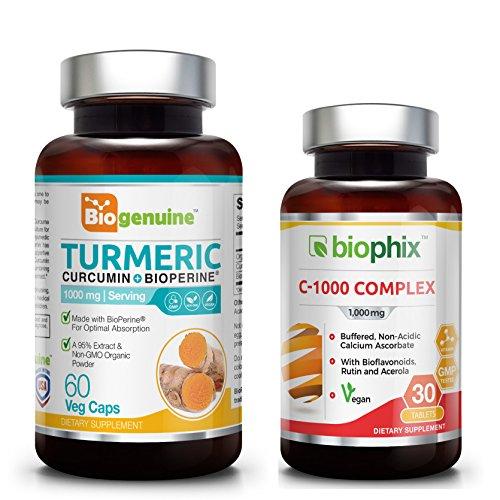 Organic Turmeric Curcumin 1000 mg 60 Vcaps - Free Vitamin C-1000 - Powerful Anti-Inflammatory | Joint Health | Antioxidant Support | Immune Boost