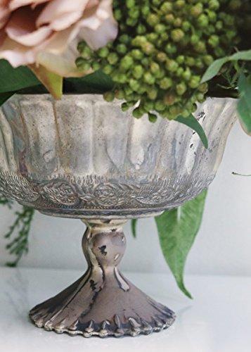 Afloral Mercury Glass Pedestal Bowl in Distressed Platinum - 5.25