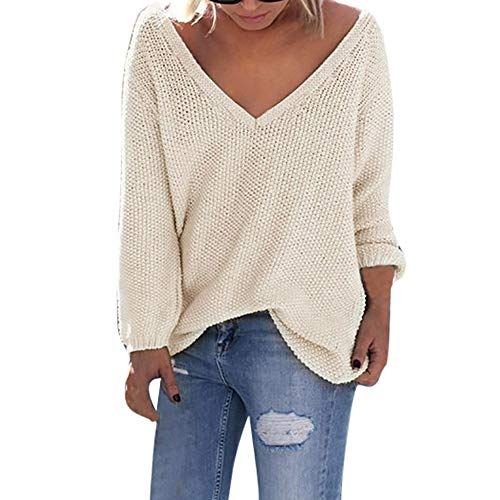 ANJUNIE Women Deep V-Neck Sweater Solid Long Sleeve Loose T-Shirt Tops Casual Knitting Blouse(Beige,M)