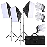 Andoer Photography Studio Portrait Softbox Lighting Tent Kit Photo Equipment Including 12pcs 5500k 45W Bulb+ 3pcs 4in1 E27 Bulb Socket+ 3pcs Softbox+ 3pcs 200cm Light Stand and Carrying Bag