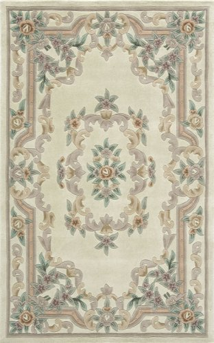 Rugs America New Aubusson Area Rug, 5-Feet by 8-Feet, Ivory