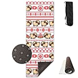 zum yoga mat cleaner - Non Slip Yoga Mat With Carrying Bag Cute Pug Dogs Stripe Pattern 5mm Thick Non-Toxic And ODOR FREE! Great For Women And Kids