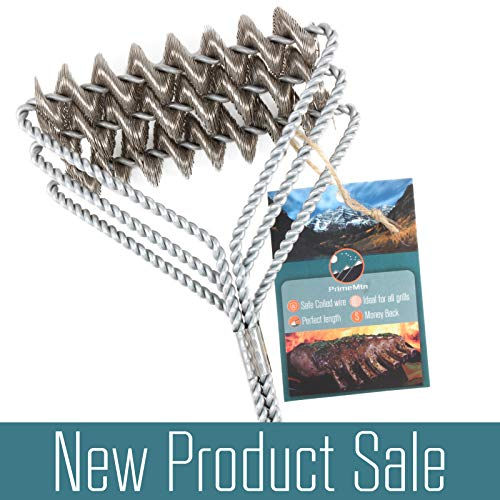 """Prime Mtn BBQ Grill Brush - New Safe Bristle Free 18"""" Stainless Steel Woven Wire Brush - Heavy Duty Cleaning Tool - Perfect for Cleaning Steel, Iron, Porcelain and All Grates ()"""