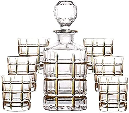 GAOXIAOMEI Juego De 7 Piezas Decantador De Whisky Vasos De Cristal Sin Plomo Botella De Vino Tinto Dibujo Línea Dorada Jarra De Vino Regalo para El Hogar 750 Ml / 250 Ml