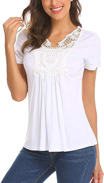 LaLaLa Mujer Blusa de Manga Corta de Verano para Mujer Camiseta Básica de Playa Camiseta con Cuello en V Top: Amazon.es: Ropa y accesorios