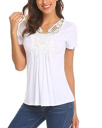 e122bcca5da74 LaLaLa Hauts de Maternité pour Femme Manches Courtes T-Shirt Col en V  Dentelle Casual