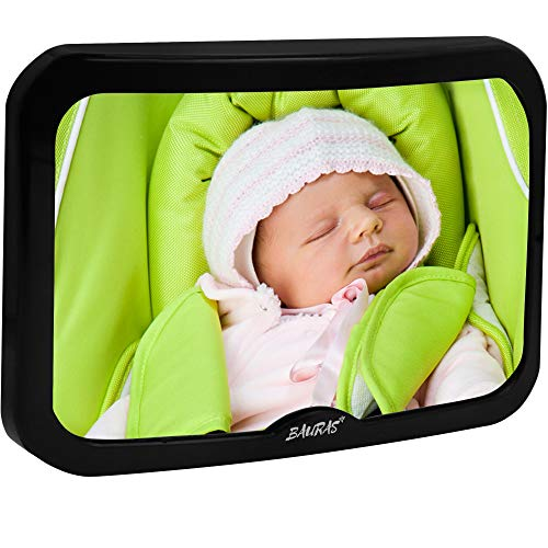 Baby Mirror for Car – Largest Backseat Mirror for Rear Facing Infant – Most Stable Shatterproof Newborn Accessories for Back Seat – Wide Crystal Clear View – Premium Quality – Safe Secure Crash Tested