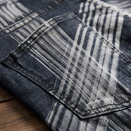 d78ea8c1a6575 Allywit Men's Ripped Slim Straight fit Biker Jeans with Zipper Plus Size