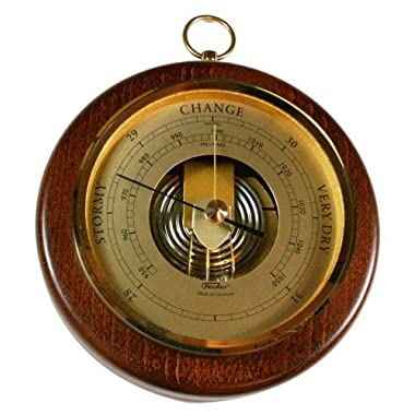 Fischer 1436R-12 Open Face Wood and Brass Barometer, 6 1/2