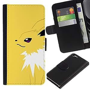 NEECELL GIFT forCITY // Billetera de cuero Caso Cubierta de protección Carcasa / Leather Wallet Case for Apple Iphone 6 // Yellow Monster empuje