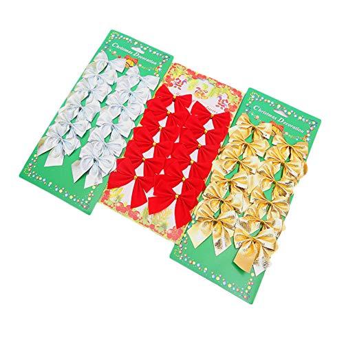 (Hishoper Christmas Bows 36pcs/lot Gold Silver Red Tree Bows Mini Christmas Ribbon Bows for Christmas Tree Presents DIY Decorations Charms Ornaments)