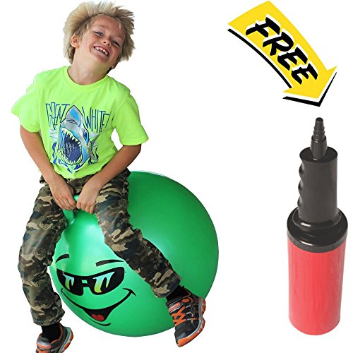 Hoppy Ball - WALIKI TOYS Hopper Ball For Kids Ages 7-9 (Hippity Hop Ball, Hopping Ball, Bouncy Ball With Handles, Sit & Bounce, Kangaroo Bouncer, Jumping Ball, 20 Inches, Green, Pump Included)
