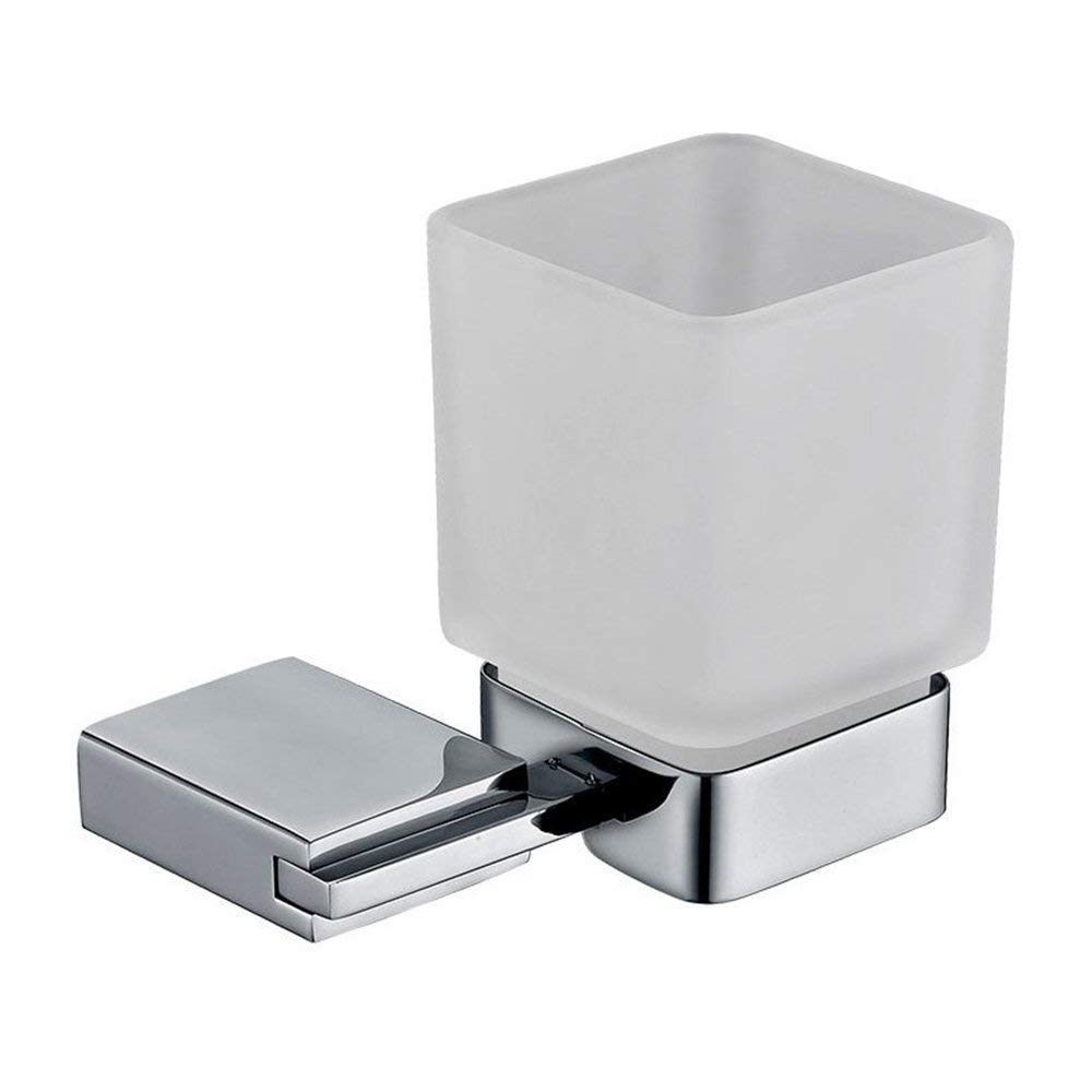 YSJ YSJ YSJ Titular de Vaso Moderno del Cepillo de Dientes del Acero Inoxidable del Estilo Minimalista, Tenedor del Cepillo de Dientes del Vidrio de la Pared del Cuarto de baño del Hotel 5ad3b8